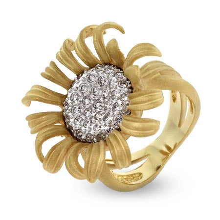 Golden Pave CZ Sunflower Cocktail Ring | Eve's Addiction®