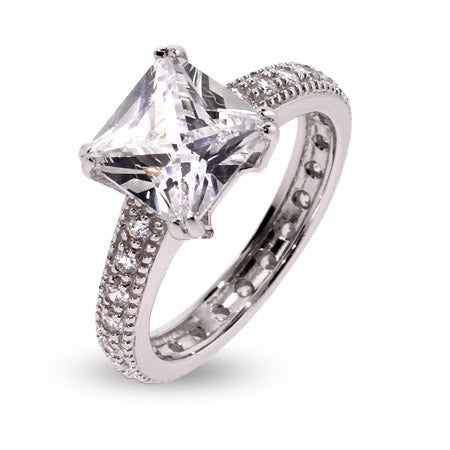 9mm Princess Cut CZ Sterling Silver Engagement Ring | Eve's Addiction®