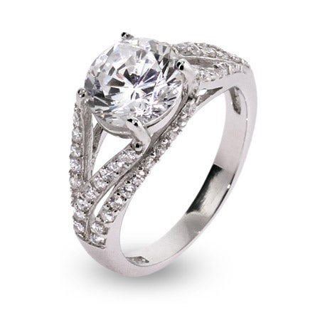 Deco Style 2.5 Carat Brilliant Cut CZ Ring in Sterling Silver | Eve's Addiction®