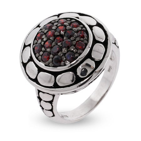 Designer Inspired Pave Garnet CZ Round Sterling Silver Bali Ring | Eve's Addiction®