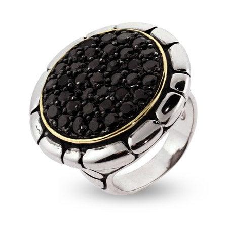 Designer Inspired Sparkling Black Pave CZ Bali Style Ring | Eve's Addiction®