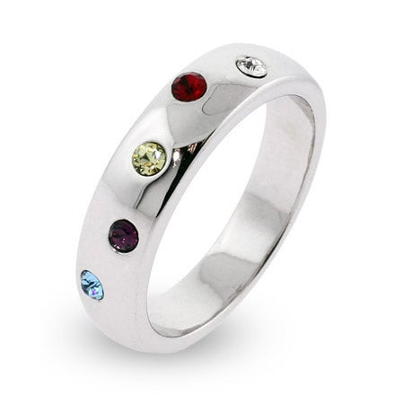5 Stone Austrian Crystal Custom Family Birthstone Twinkling Ring | Eve's Addiction®