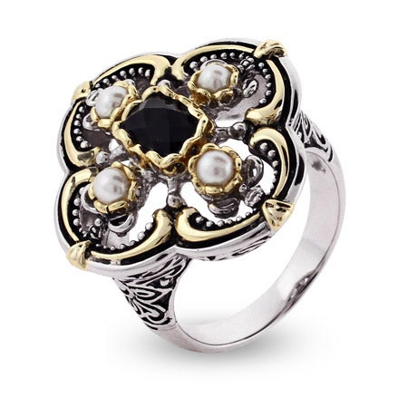 Designer Inspired Black Onyx and Pearl Vintage Style Ring | Eve's Addiction®