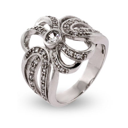 Elegant CZ Ribbon Style Sterling Silver Ring | Eve's Addiction®