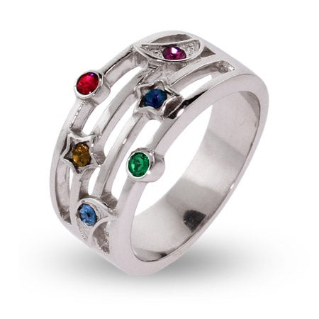 6 Stone Moon and Stars Custom Birthstone Ring | Eve's Addiction®