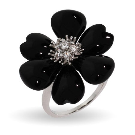 Black Onyx Magnolia CZ Sterling Silver Flower Ring | Eve's Addiction®