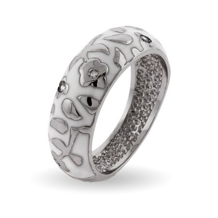 White Enamel Sterling Silver Band of Poseys Ring | Eve's Addiction®
