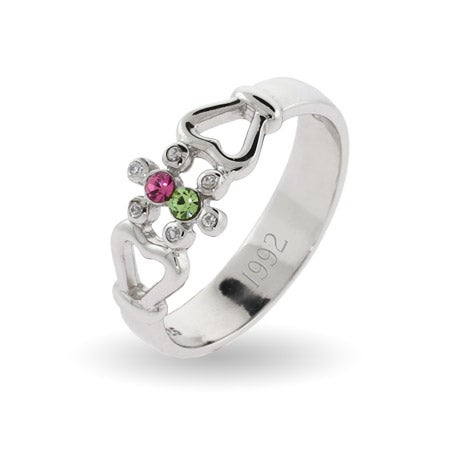 Vintage 2 Stone Couples Silver Birthstone Ring with Heart Detail | Eve's Addiction®