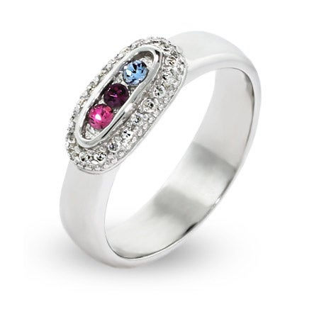 3 Stone Sparkling Pave Set Austrian Crystal Mothers Ring | Eve's Addiction®