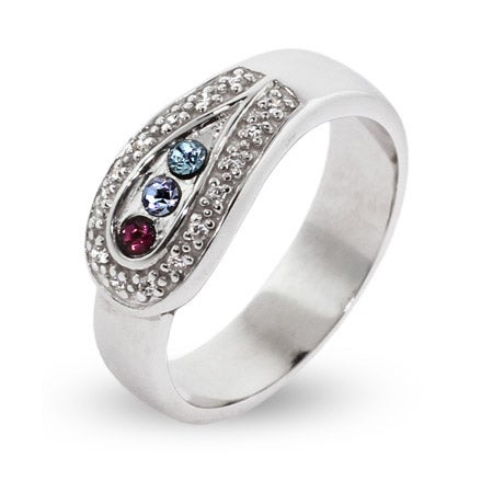 3 Stone Custom Birthstone Austrian Crystal Spoon Ring | Eve's Addiction®