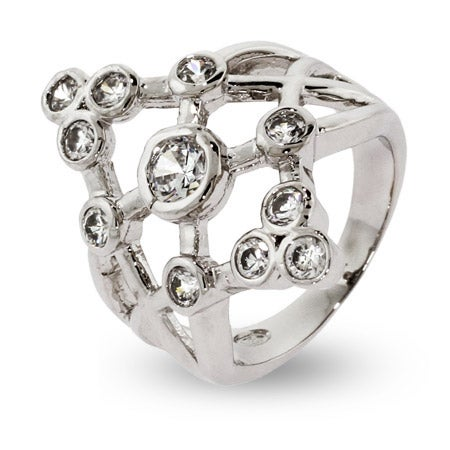 Designer Style 11 Stone Bezel Set CZ Bubbles Ring | Eve's Addiction®