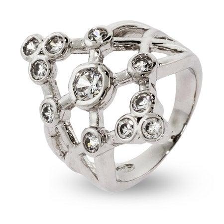 Designer Style 11 Stone Bezel Set CZ Bubbles Ring | Eve's Addiction®
