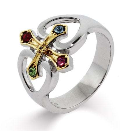 4 Stone Sterling Silver Gold Cross with Hearts Birthstone Ring | Eve's Addiction®