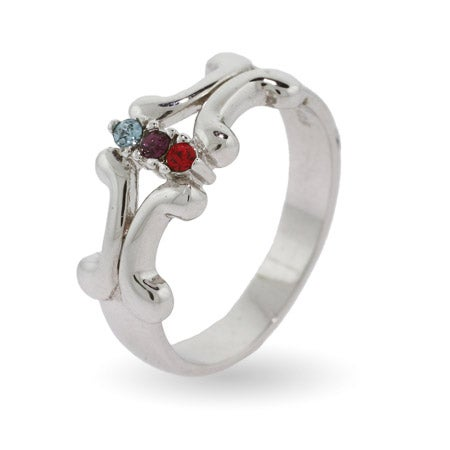 Engravable 3 Stone Vintage Style Custom Birthstone Sterling Silver Ring | Eve's Addiction®