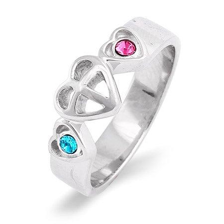 Custom Birthstone Prayer In My Heart Couples Ring | Eve's Addiction®