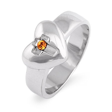 Engravable Custom Birthstone Purity Heart Ring in Sterling Silver