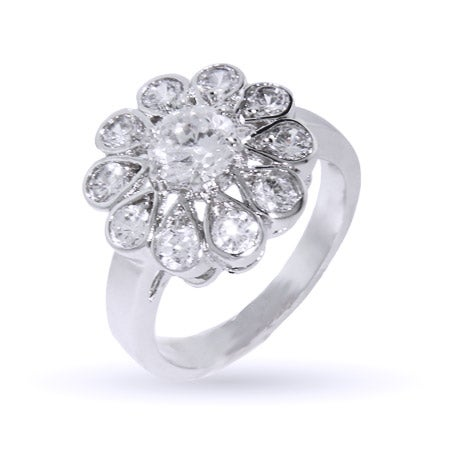 Dazzling CZ Daisy Flower Ring | Eve's Addiction®