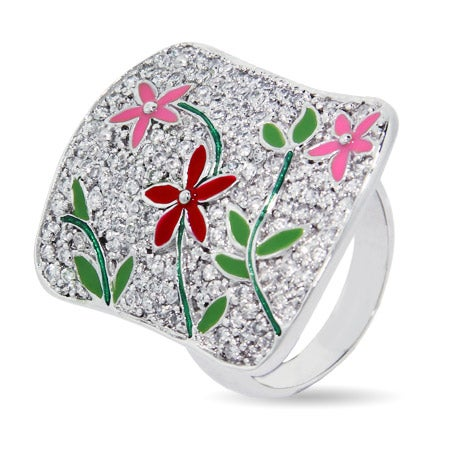Designer Inspired Pave CZ Flower Cocktail Ring | Eve's Addiction®