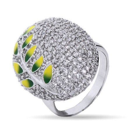 Designer Inspired Sparkling Pave CZ Nature Leaf Cocktail Ring | Eve's Addiction®