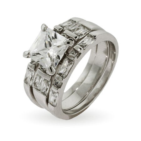 Princess Cut Three Ring Engagement Set | Eve's Addiction®