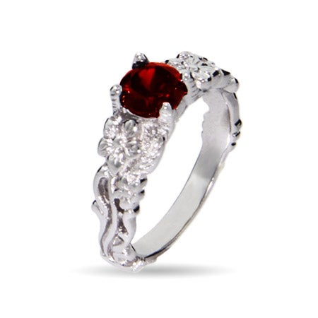 Vintage Inspired Garnet Ring with Cubic Zirconia | Eve's Addiction