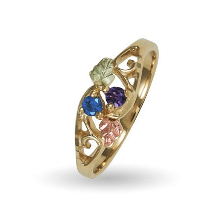 10K Black Hills Gold 2 Stone Family Birthstone Ring | Eve's Addiction®