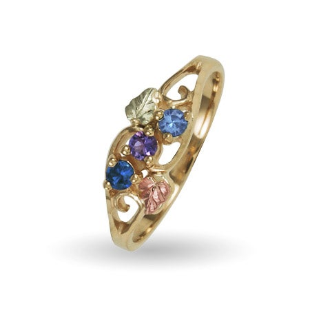 3 Stone Birthstone Ring in 10k Gold by Black Hills Gold Jewelers | Eve's Addiction®
