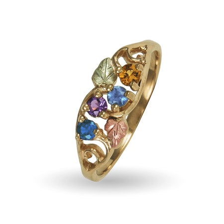 Custom 4 Stone Family 10K Gold Birthstone Ring by Black Hills Gold | Eve's Addiction®
