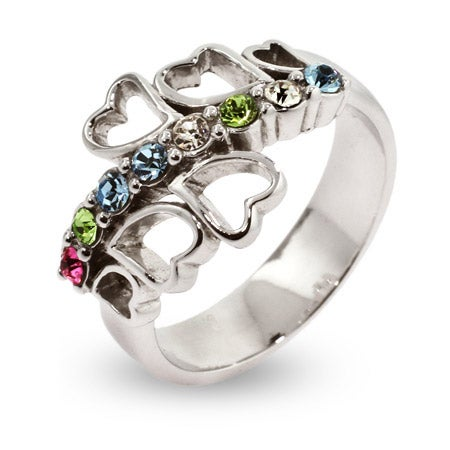 8 Stone Family of Hearts Sterling Silver Custom Mother's Ring | Eve's Addiction®