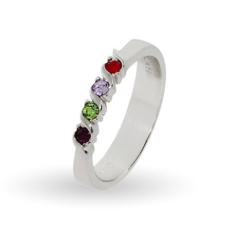 4 Stone Single Wave Swarovski Crystal Custom Birthstone Family Ring | Eve's Addiction®