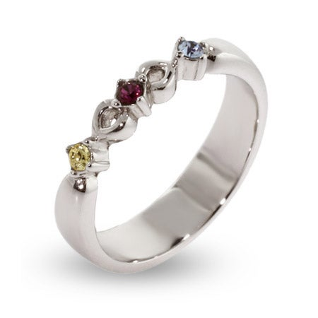 3 Stone Petite Sterling Silver Engravable Birthstone Ring | Eve's Addiction®