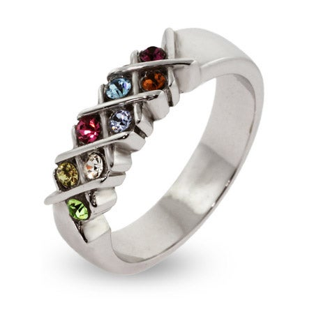 8 Stone Engravable Sterling Silver Custom Birthstone Mother's Ring | Eve's Addiction®