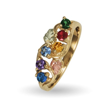 6 Stone Family Birthstone Ring in 10K Solid Yellow Gold | Eve's Addiction®