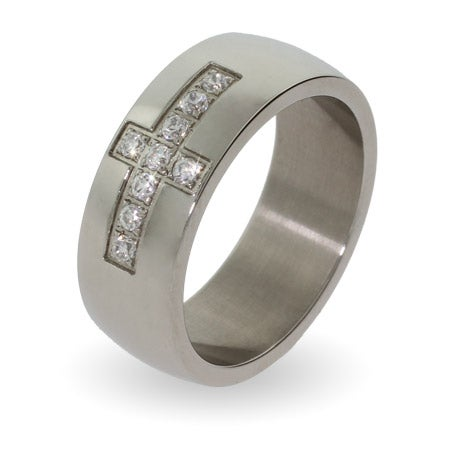 Men's Engravable Stainless Steel CZ Cross Ring | Eve's Addiction®