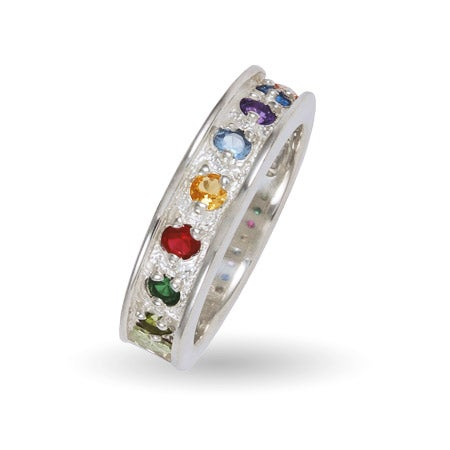 7 Stone Sterling Silver Family Birthstone Ring By Black