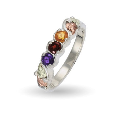 Sterling Silver 3 Stone Genuine Mother's Birthstone Band by Black Hills Gold | Eve's Addiction®
