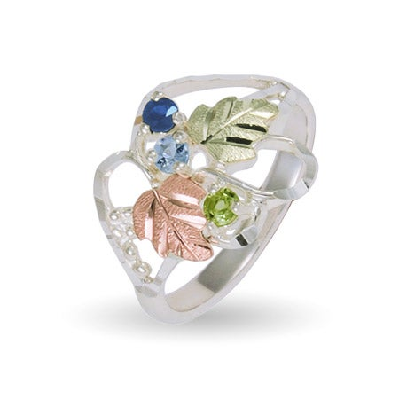 Women's 3 Stone Genuine Birthstone Sterling Silver Ring by Black Hills Gold | Eve's Addiction®