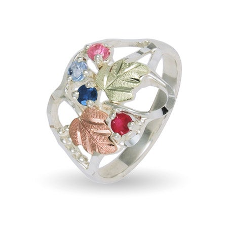 4 Stone Ladies Genuine Silver Birthstone Ring by Black Hills Gold Jewelers | Eve's Addiction®