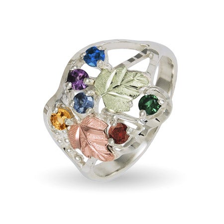 Black Hills Gold On Sterling Silver 6 Stone Ladies Genuine Birthstone Ring | Eve's Addiction®