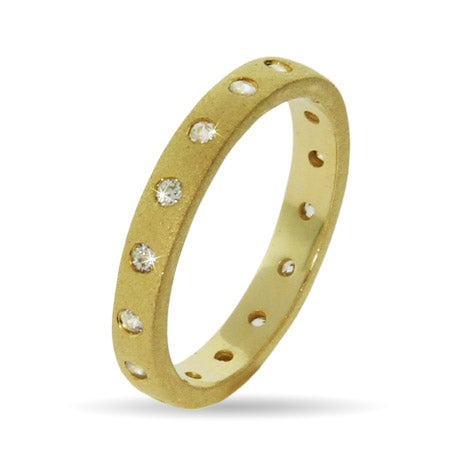 Designer Style Gold Vermeil Bezel Set Stackable Ring | Eve's Addiction®