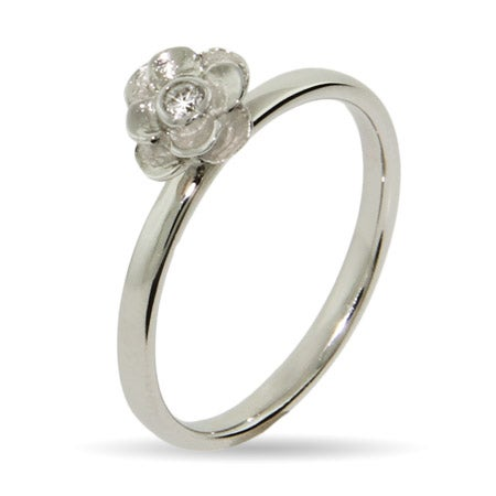 CZ Rose Silver Stackable Ring | Eve's Addiction®