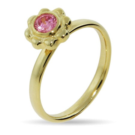 Gold Vermeil Pink CZ Flower Stackable Ring | Eve's Addiction®