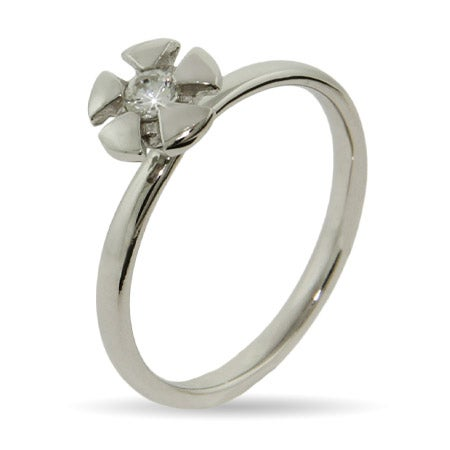 CZ Sterling Silver Starburst Stackable Ring | Eve's Addiction