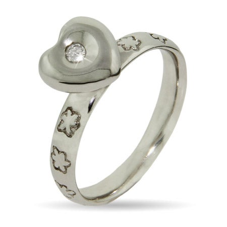 Sparkling Heart Silver Stackable Ring | Eve's Addiction®