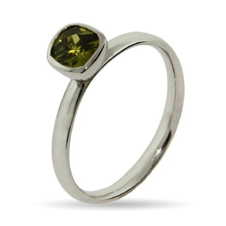 Peridot Cushion Cut CZ Stackable Ring | Eve's Addiction®