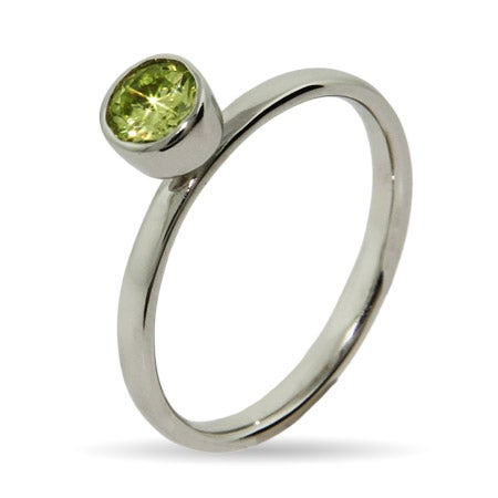 Bezel Set Peridot CZ Stackable Ring | Eve's Addiction®