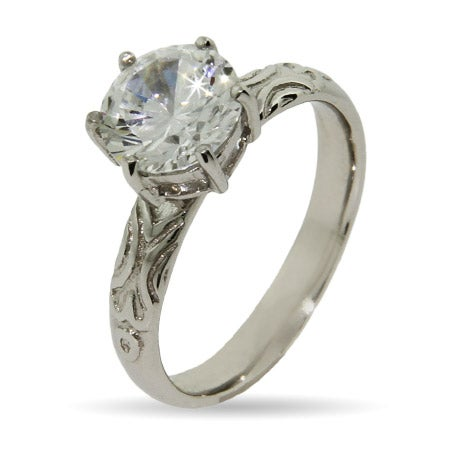 Brilliant Cut CZ with Detailed Band Stackable Ring | Eve's Addiction®