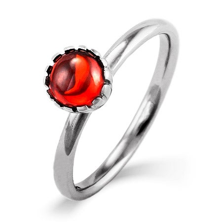 Garnet CZ Silver Stackable Ring | Eve's Addiction®