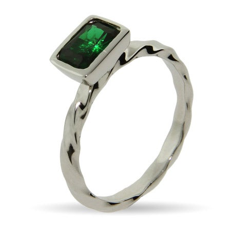 Emerald Green CZ Silver Stackable Ring | Eve's Addiction