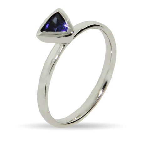 Blue Triangular CZ Stackable Ring | Eve's Addiction®